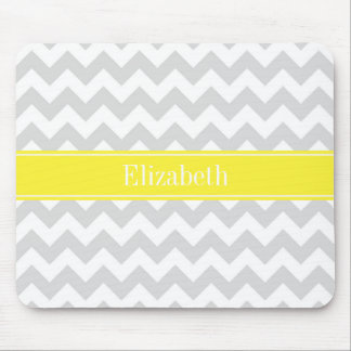 Lt Gray Wht Chevron Yellow Name Monogram Mouse Pad