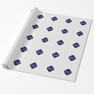 Lt Gray Wht UE Stripe Navy Quatrefoil 3 Monogram Wrapping Paper