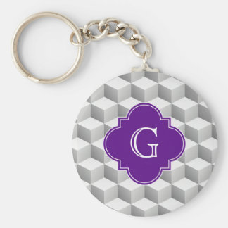 Lt Grey White 3D Look Cubes Purple Monogram Basic Round Button Key Ring