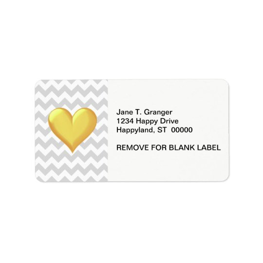 Lt Grey White Chevron Golden Yellow Shaded Heart Address Label
