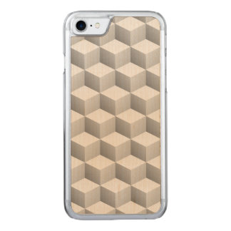 Lt Grey White Shaded 3D Look Cubes Carved iPhone 7 Case