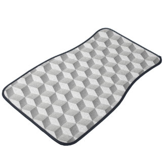 Lt Grey White Shaded 3D Look Cubes Floor Mat