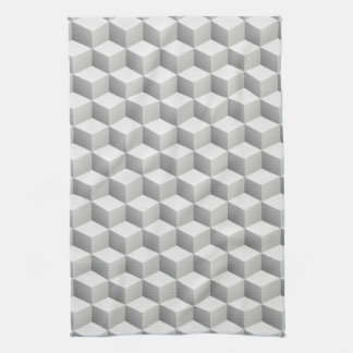 Lt Grey White Shaded 3D Look Cubes Hand Towel