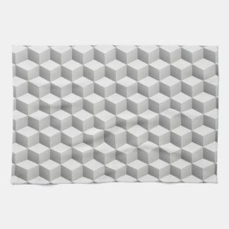 Lt Grey White Shaded 3D Look Cubes Hand Towels