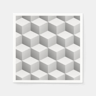 Lt Grey White Shaded 3D Look Cubes Paper Serviettes
