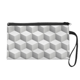 Lt Grey White Shaded 3D Look Cubes Wristlet Clutch