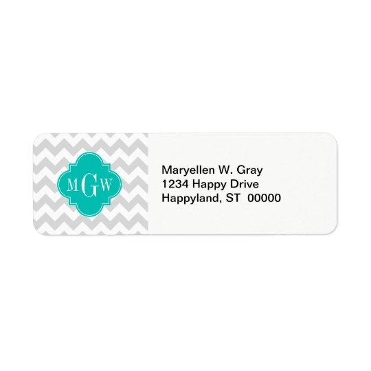 Lt Grey Wht Chevron Teal Quatrefoil 3 Monogram Return Address Label