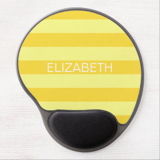Lt Yellow Pineapple Horiz Preppy Stripe Monogram Gel Mouse Pad