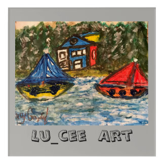 Lu_cee Kid Wall Art Sail boat by the River
