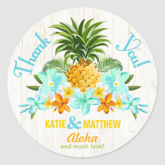 Luau Beach Tropical Floral Thank You Label Round Sticker