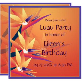 Luau  Birthday Bird-of Paradise Tropical Party Card