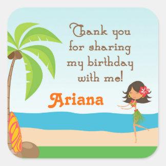 Luau Birthday Party Favour Thank You Sticker