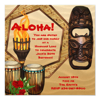 Luau Birthday Party Hawaiian Luau Party 13 Cm X 13 Cm Square Invitation Card