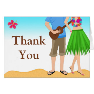 Luau Couple Wedding Shower Thank You Card
