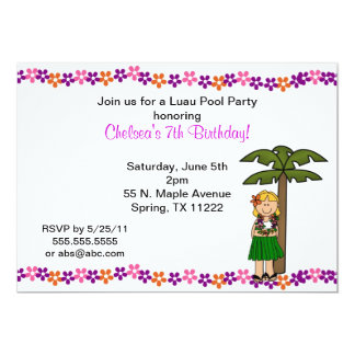 Luau Girl with blonde hair party invitation