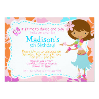 Luau Hawaii Girl birthday invitation