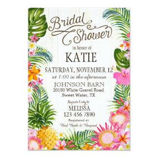 Luau Hawaiian Beach Rustic Bridal Shower 13 Cm X 18 Cm Invitation Card
