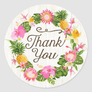 Luau Hawaiian Beach Rustic Thank You Label Round Sticker