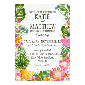 Luau Hawaiian Beach Rustic Wedding 13 Cm X 18 Cm Invitation Card