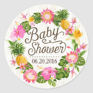 Luau Hawaiian Rustic Beach Baby Shower Label Round Sticker