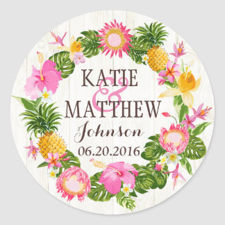 Luau Hawaiian Rustic Beach Wedding Label Round Sticker