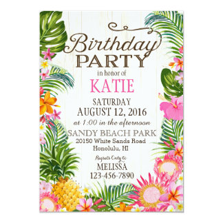 Luau Hawiian Beach Rustic Birthday Party 13 Cm X 18 Cm Invitation Card