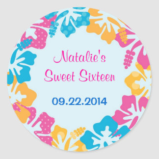Luau Hibiscus Sweet Sixteen (16) Favor Sticker
