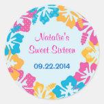 Luau Hibiscus Sweet Sixteen (16) Favour Sticker