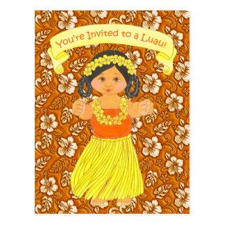 Luau Invitation Cards ~ Hawaii Hula Party Postcard