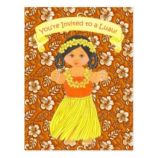 Luau Invitation Cards ~ Hawaii Hula Party Post Card