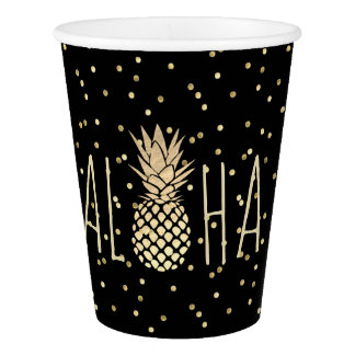 luau party hawaiian golden pineapple on black paper cup