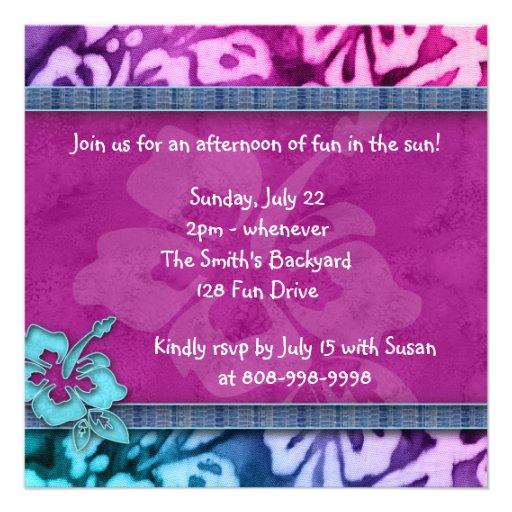 Luau Party Invitation Hibiscus Pink Blue