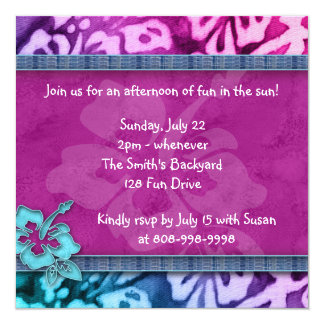 Luau Party Invitation Hibiscus Pink Blue