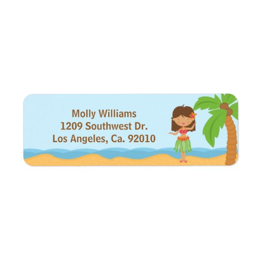 Luau Party Return Address Labels