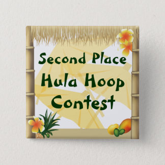 Luau Party Second Place Hula Hoop Award Button