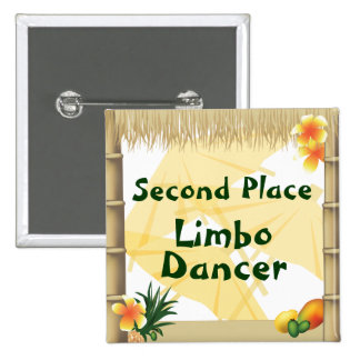 Luau Party Second Place Limbo Dancer Award Button