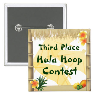 Luau Party Third Place Hula Hoop Award Button