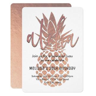 luau rose gold pineapple card