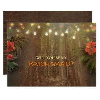 Luau Tropical Beach Lights Floral Bridesmaid 11 Cm X 16 Cm Invitation Card