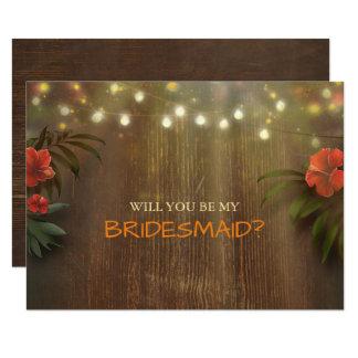 Luau Tropical Beach Lights Floral Bridesmaid Card