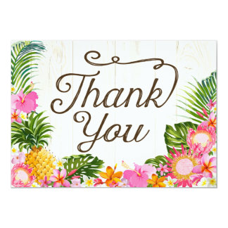 Luau Tropical Floral Beach Rustic Thank You Card