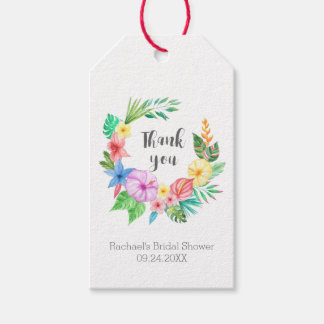 Luau Tropical Flower Bridal Shower Thank You Gift Tags