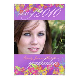 Luau/ Tropical flowers Graduation Party Card