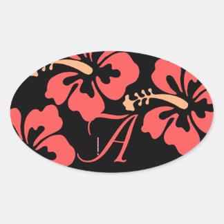 Luau Wedding Labels Oval Sticker