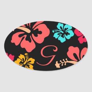 Luau Wedding Labels Oval Stickers