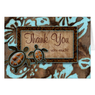 Luau Wedding Thank You Cards Turtle blue