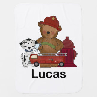 Lucas Little Fire Bear Personalized Gifts Receiving Blanket