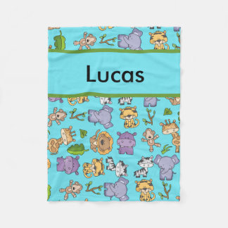 Lucas' Personalized Jungle Blanket