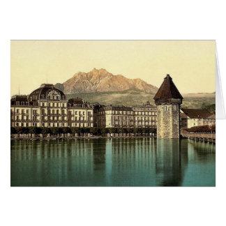 Lucerne, Hotel du Lac, Pilatus, Switzerland vintag Card