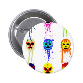 Lucha Libre Mask Mexican Wrestling Paint Drip 6 Cm Round Badge